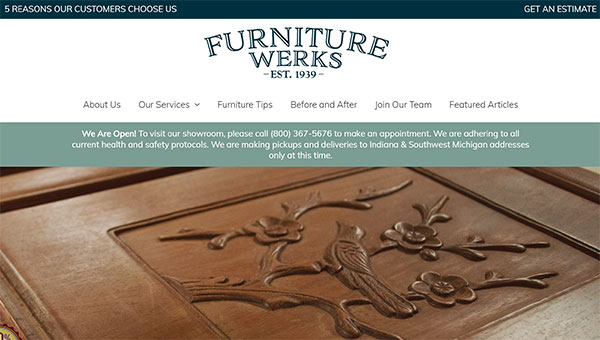 furniture refinishing website design